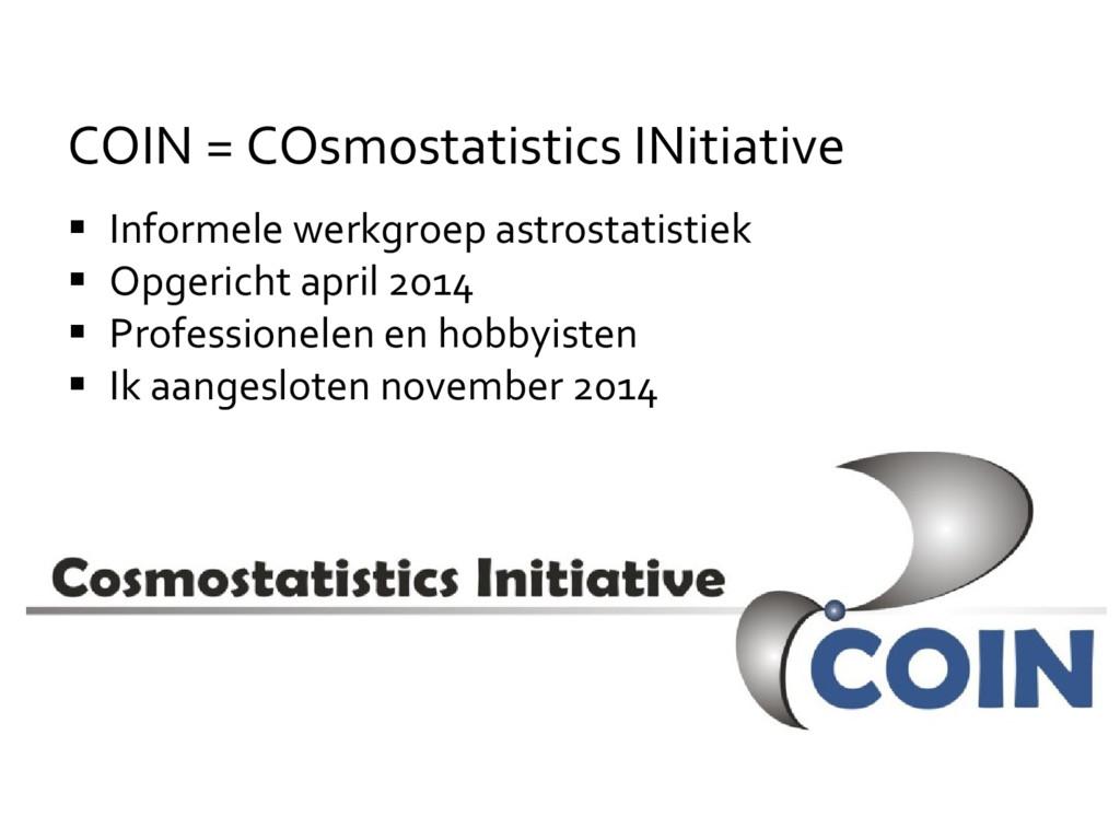  Informele werkgroep astrostatistiek  Opgeric...