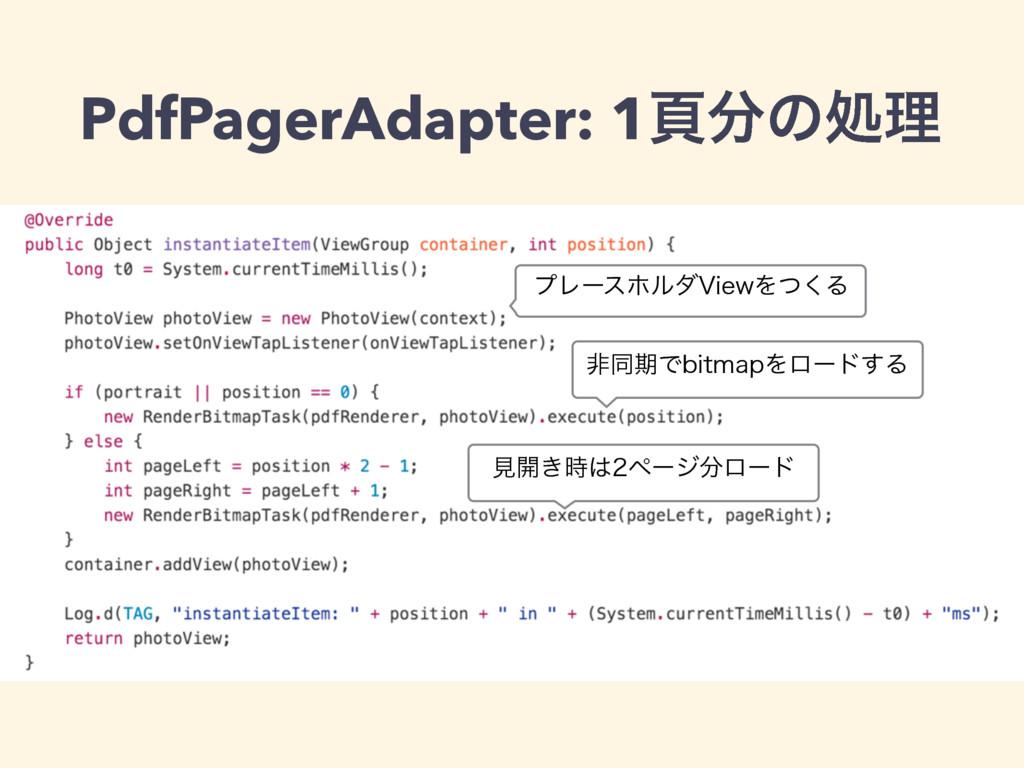 PdfPagerAdapter: 1ทͷॲཧ ϓϨʔεϗϧμ7JFXΛͭ͘Δ ඇಉظͰCJU...