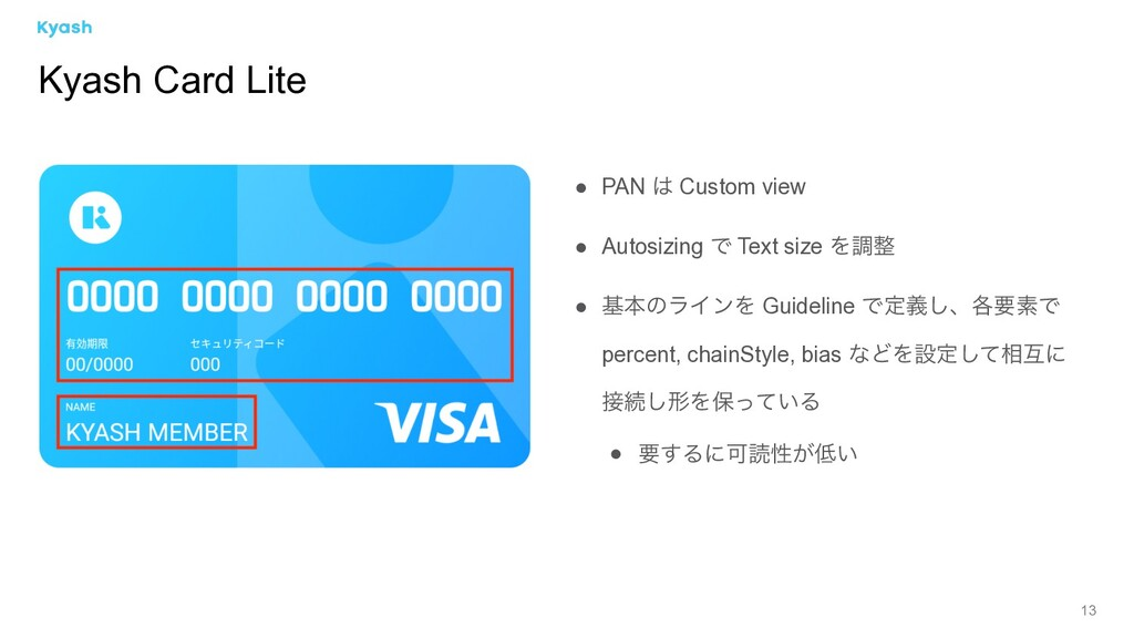 13 Kyash Card Lite ● PAN  Custom view ● Autosi...