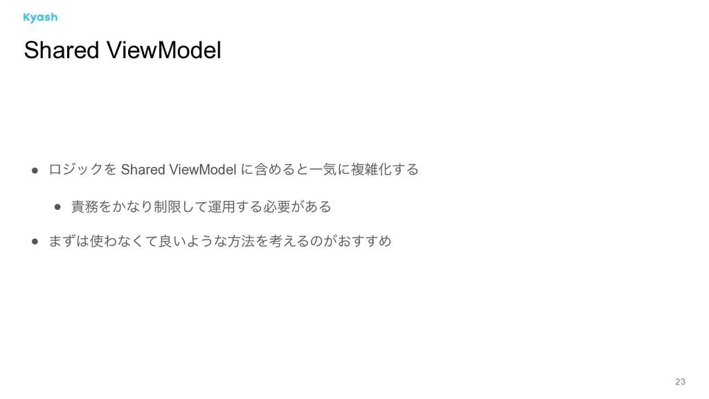 23 ● ϩδοΫΛ Shared ViewModel ʹؚΊΔͱҰؾʹෳԽ͢Δ ● Λ...
