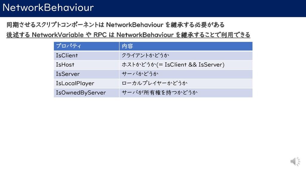 NetworkBehaviour 同期させるスクリプトコンポーネントは NetworkBeha...