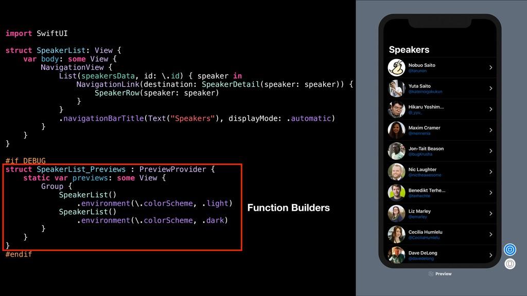 import SwiftUI struct SpeakerList: View { var b...