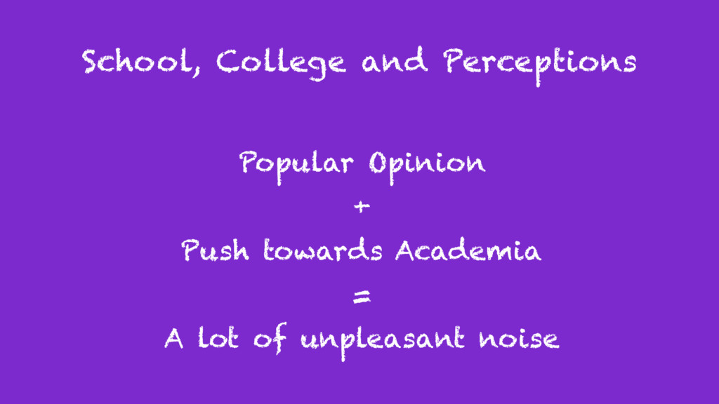 School, College and Perceptions Popular Opinion...