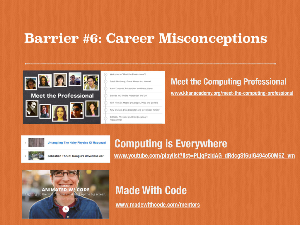 Barrier #6: Career Misconceptions www.khanacade...
