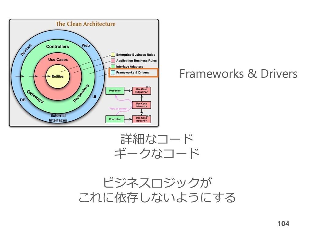 104 Frameworks & Drivers 詳細なコード ギークなコード ビジネスロジッ...
