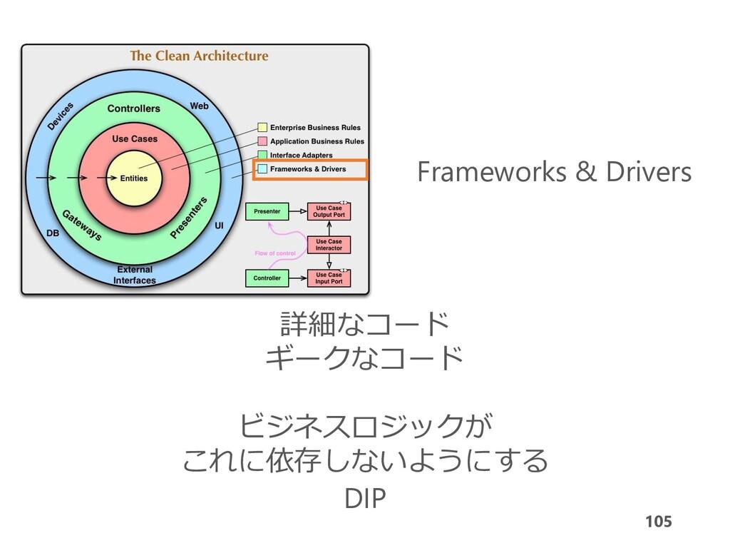 105 Frameworks & Drivers 詳細なコード ギークなコード ビジネスロジッ...