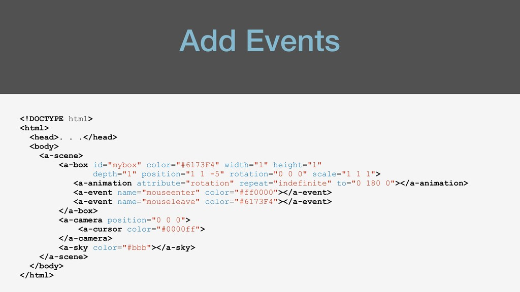 Add Events <!DOCTYPE html> <html> <head>. . .</...