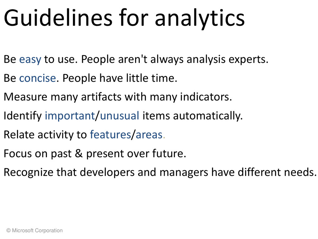 © Microsoft Corporation Guidelines for analytic...