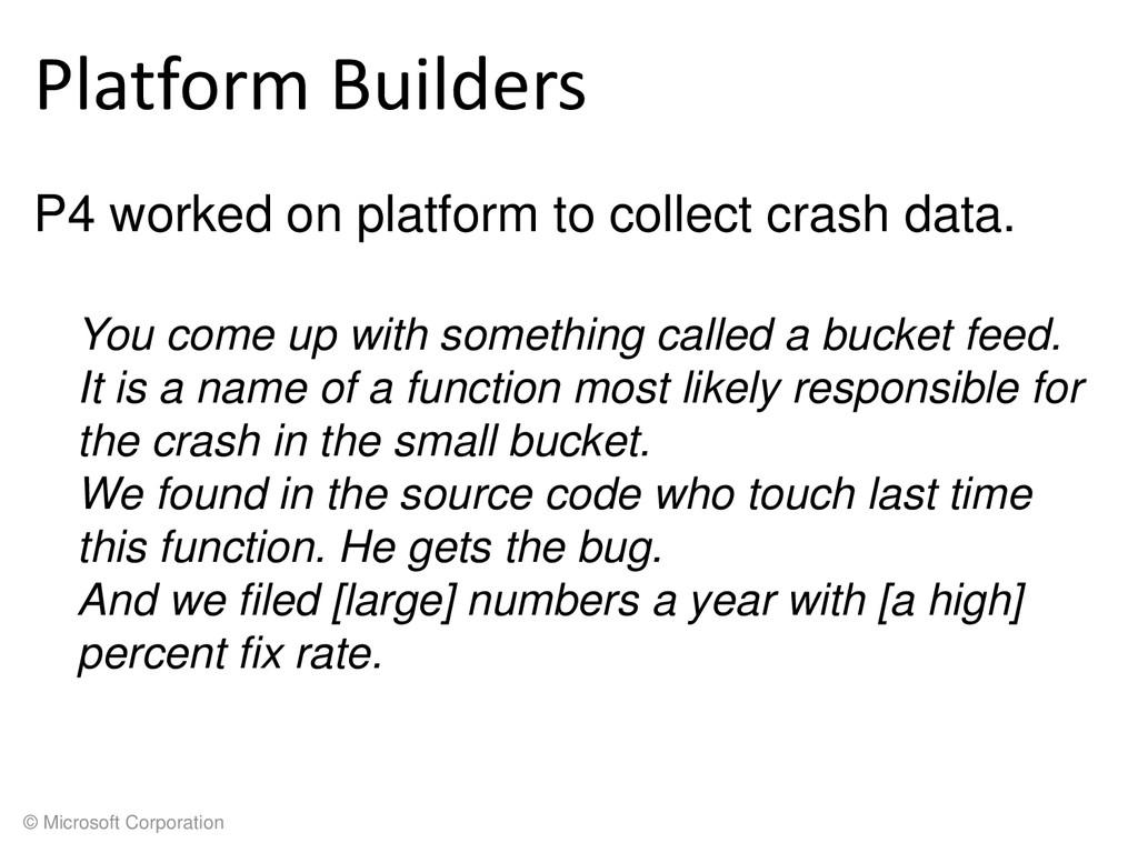 © Microsoft Corporation Platform Builders P4 wo...