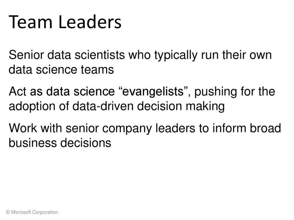 © Microsoft Corporation Team Leaders Senior dat...