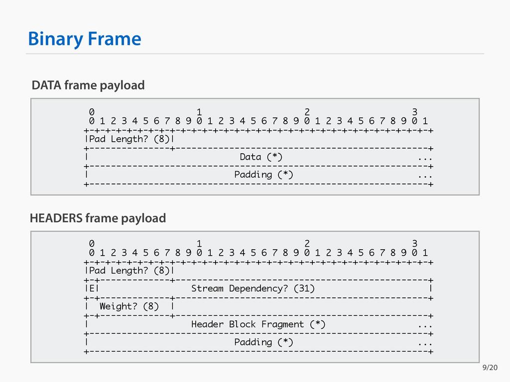 Binary Frame DATA frame payload 0 1 2 3 0 1 2 3...