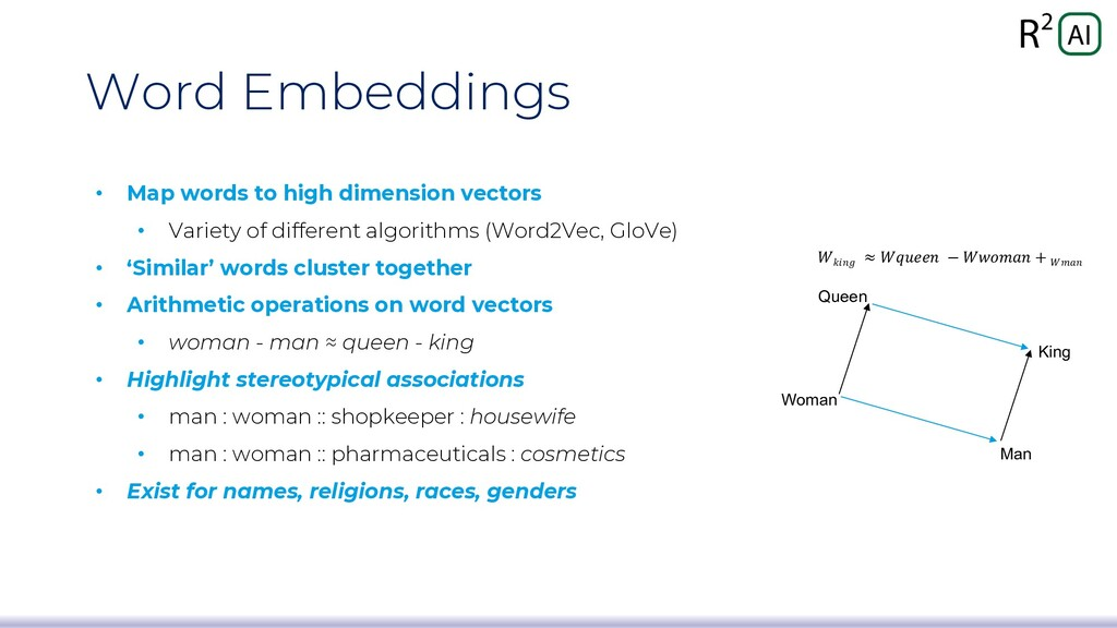 Word Embeddings • Map words to high dimension v...