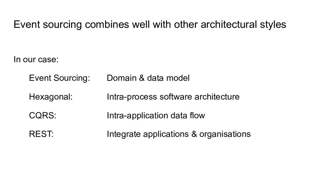 Event sourcing combines well with other archite...