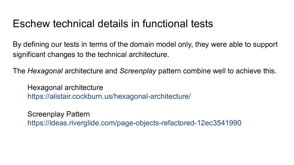 Eschew technical details in functional tests By...