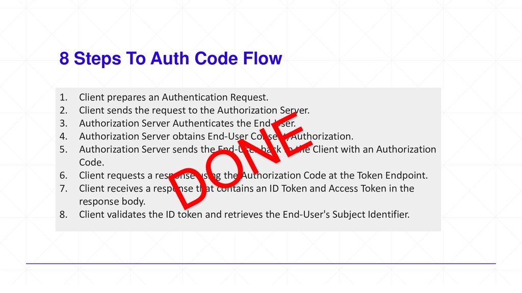 8 Steps To Auth Code Flow 1. Client prepares an...
