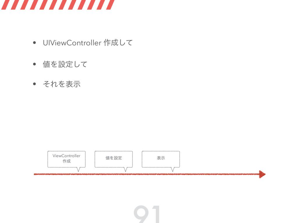 • UIViewController ࡞ͯ͠ • Λઃఆͯ͠ • ͦΕΛදࣔ Λઃఆ V...