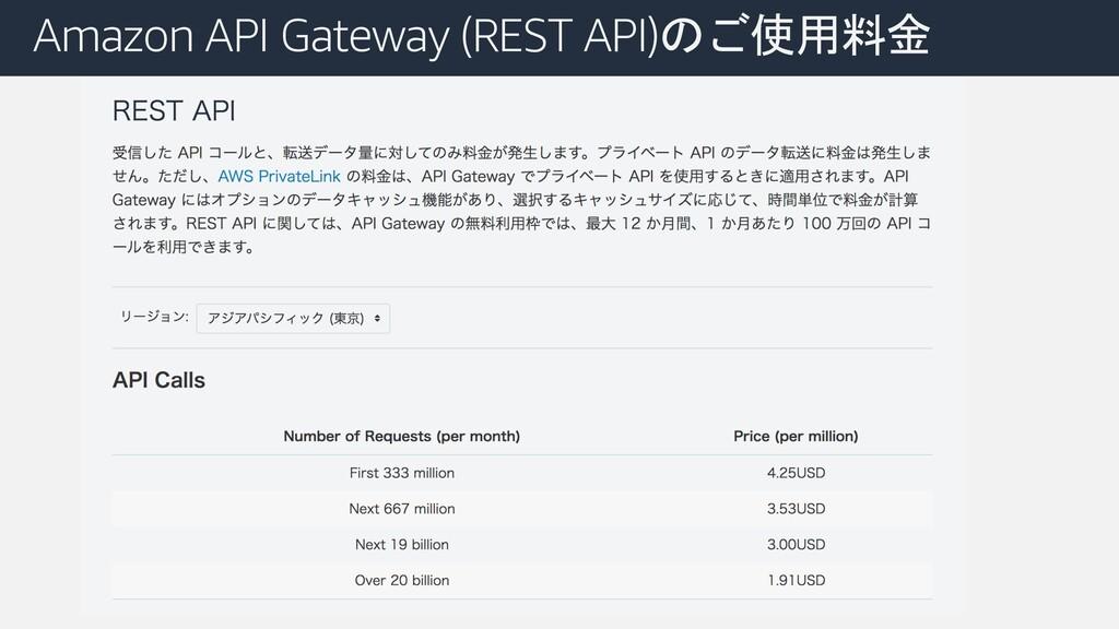 Amazon API Gateway (REST API)のご使用料金