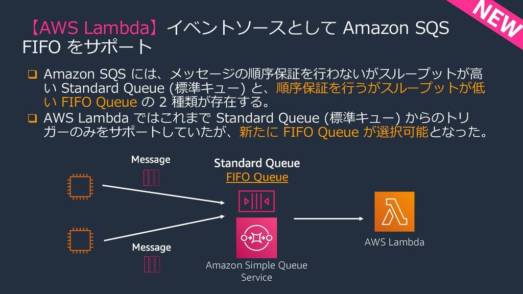 q Amazon SQS には、メッセージの順序保証を⾏わないがスループットが⾼ い Stan...