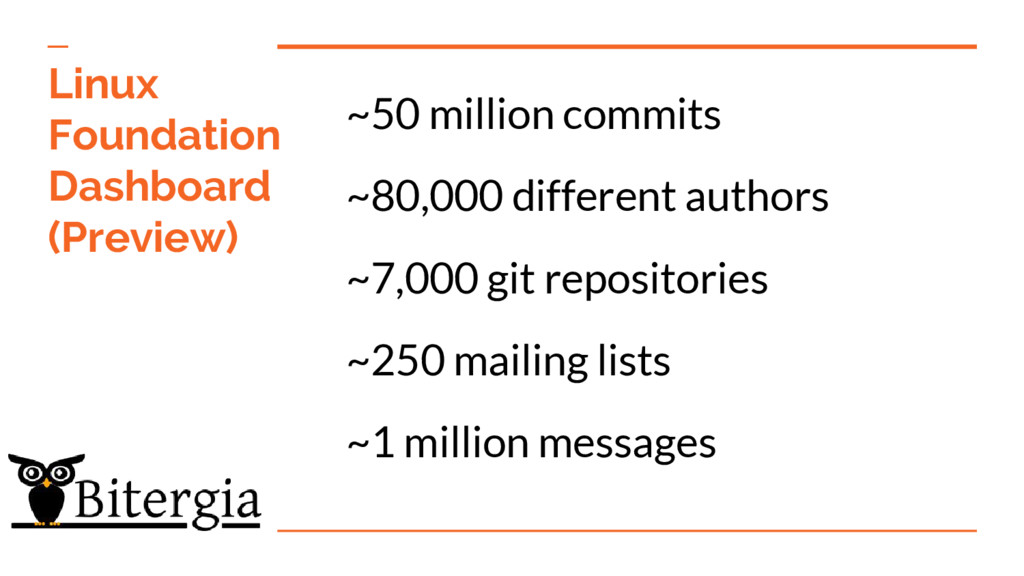 ~50 million commits ~80,000 different authors ~...