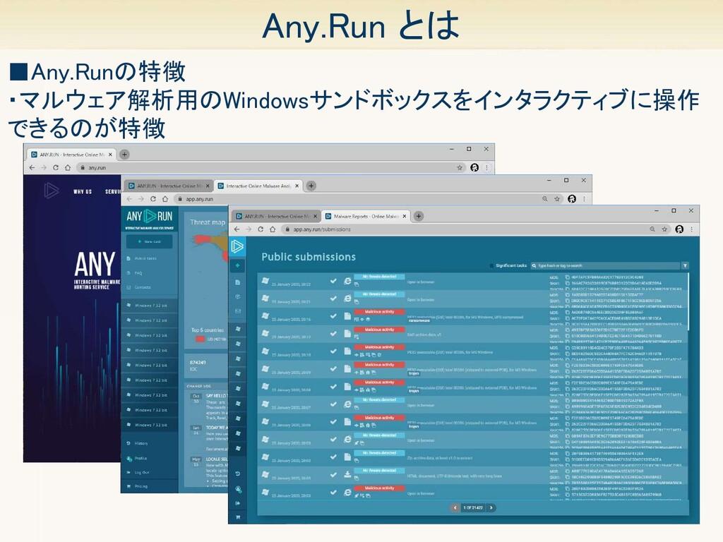 16 Any.Run とは ■Any.Runの特徴 ・マルウェア解析用のWindowsサン...