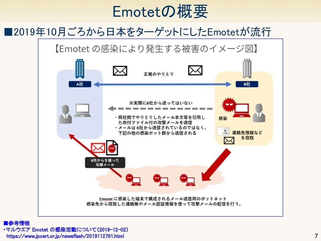7 Emotetの概要 ■参考情報 ・マルウエア Emotet の感染活動について(201...