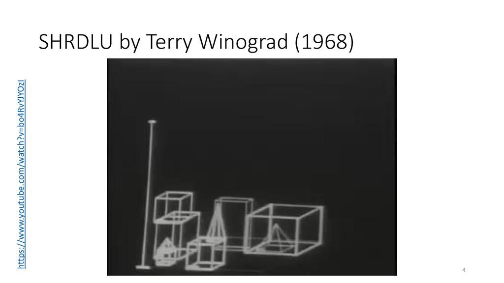 SHRDLU by Terry Winograd (1968) 4 https://www.y...