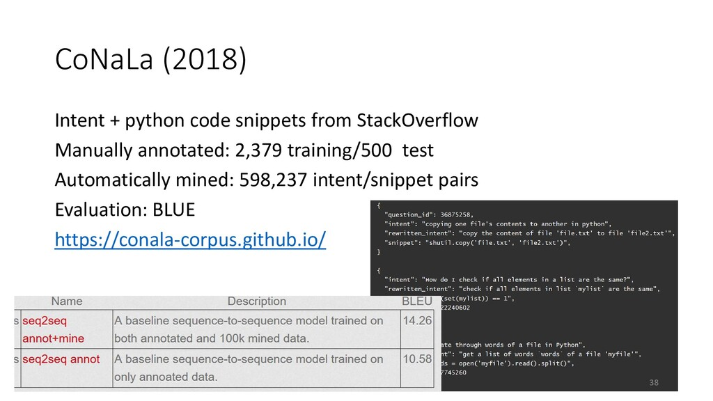 CoNaLa (2018) Intent + python code snippets fro...