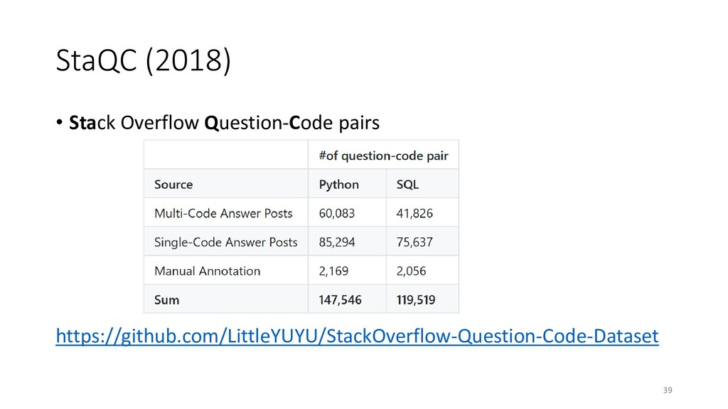 StaQC (2018) • Stack Overflow Question-Code pai...