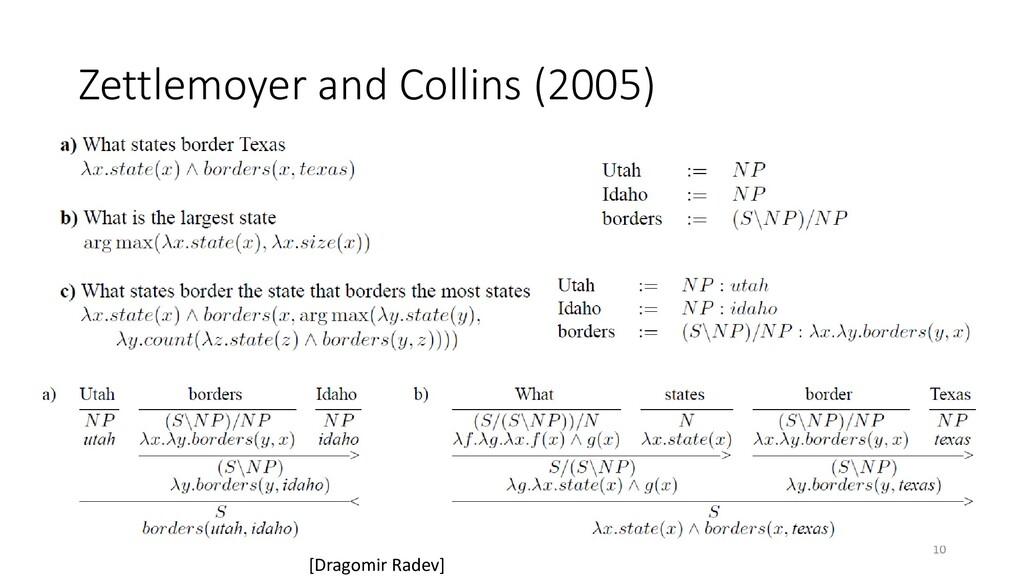 Zettlemoyer and Collins (2005) 10 [Dragomir Rad...