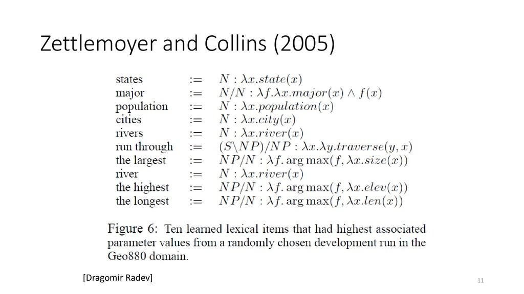 Zettlemoyer and Collins (2005) 11 [Dragomir Rad...