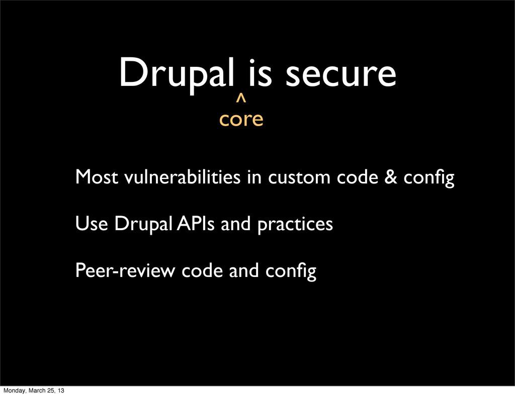 Drupal is secure Most vulnerabilities in custom...