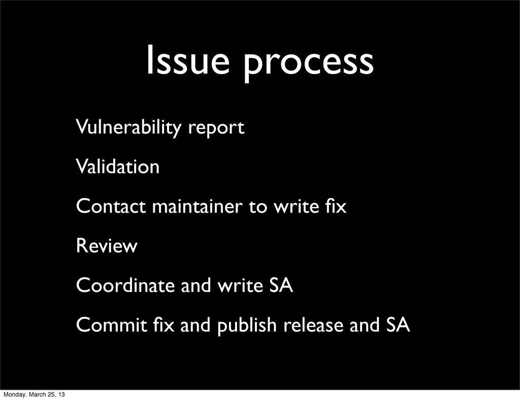 Issue process Vulnerability report Validation C...