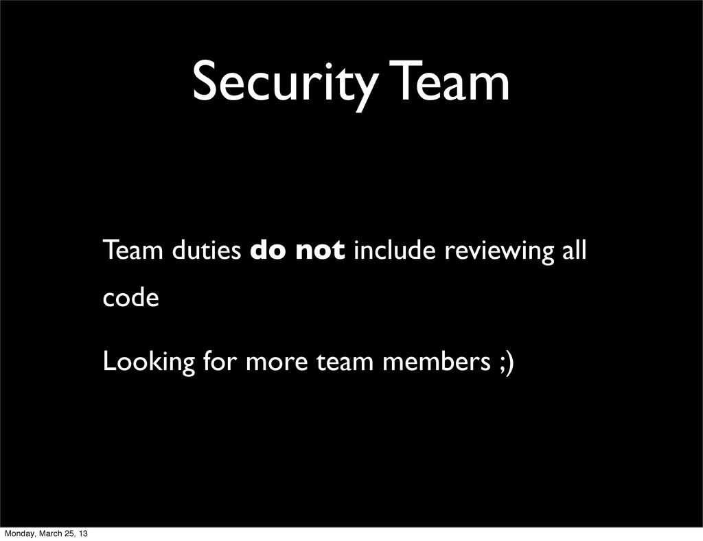 Security Team Team duties do not include review...