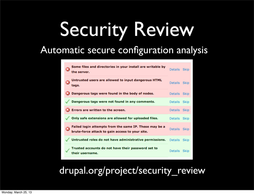 Security Review Automatic secure configuration a...