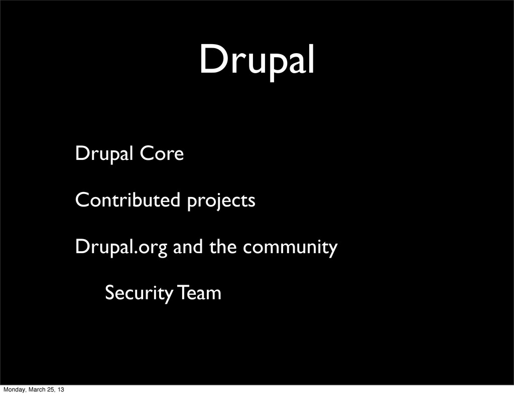 Drupal Drupal Core Contributed projects Drupal....