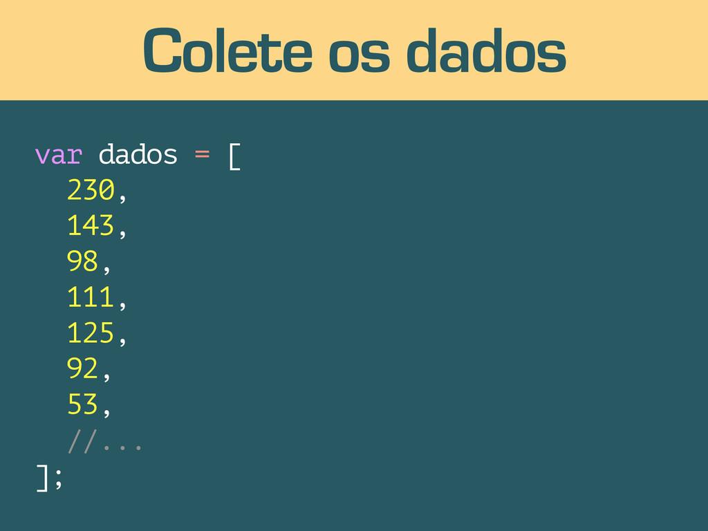 var dados = [ 230, 143, 98, 111, 125, 92, 53, /...