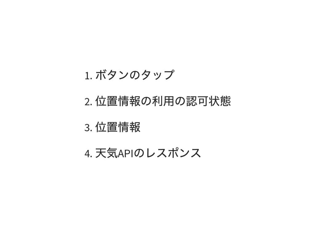 1. ボタンのタップ 2. 位置情報の利用の認可状態 3. 位置情報 4. 天気API のレス...