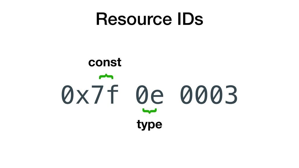 0e Resource IDs { { const type 0x7f 0003