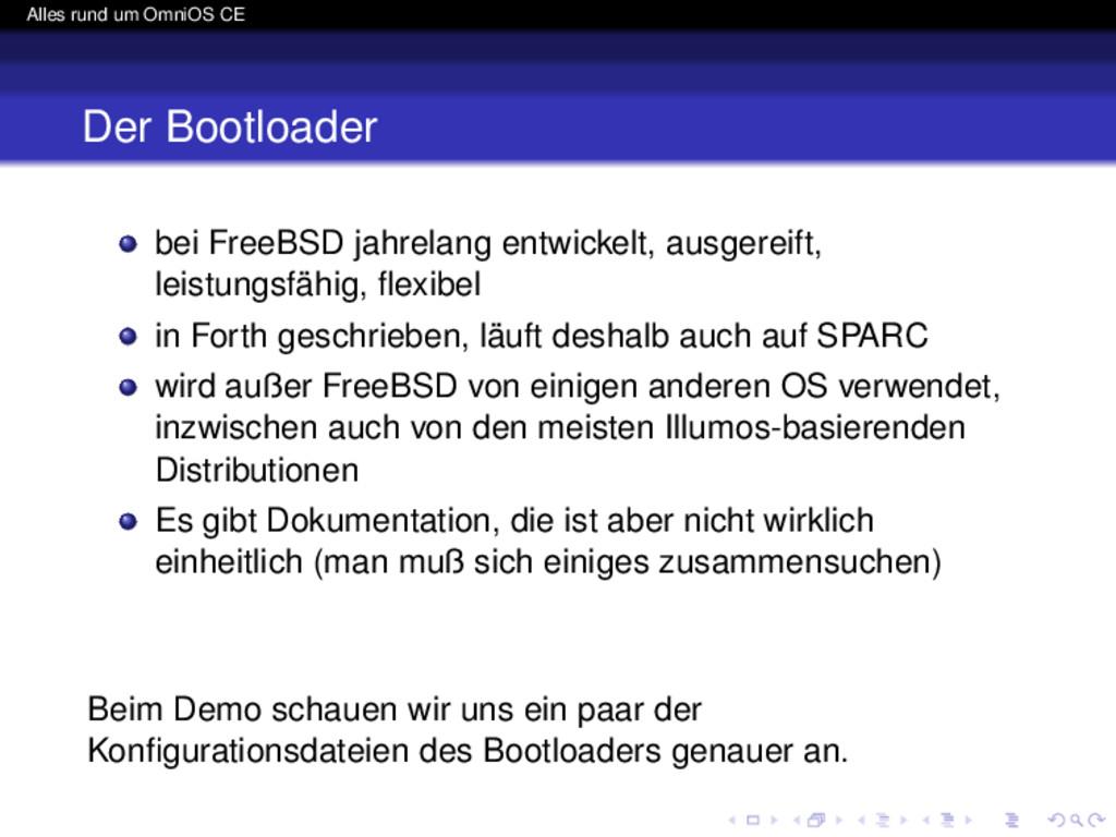 Alles rund um OmniOS CE Der Bootloader bei Free...