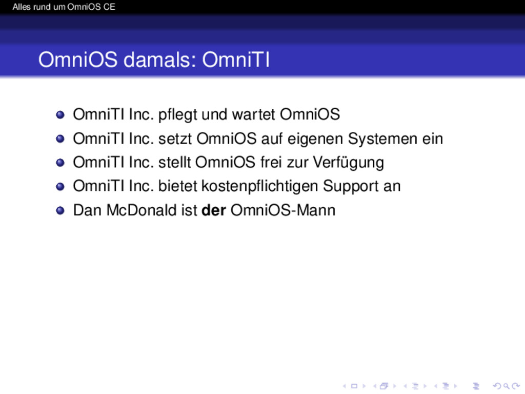 Alles rund um OmniOS CE OmniOS damals: OmniTI O...