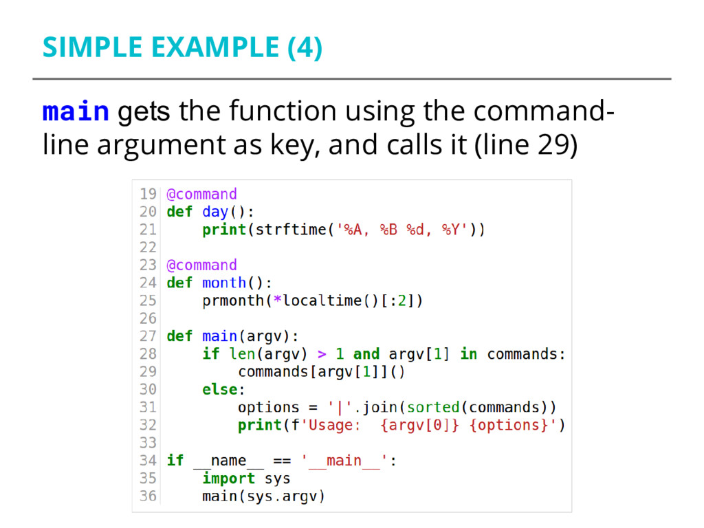 SIMPLE EXAMPLE (4) main gets the function using...