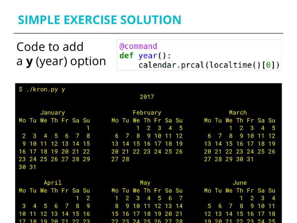 SIMPLE EXERCISE SOLUTION Code to add a y (year)...