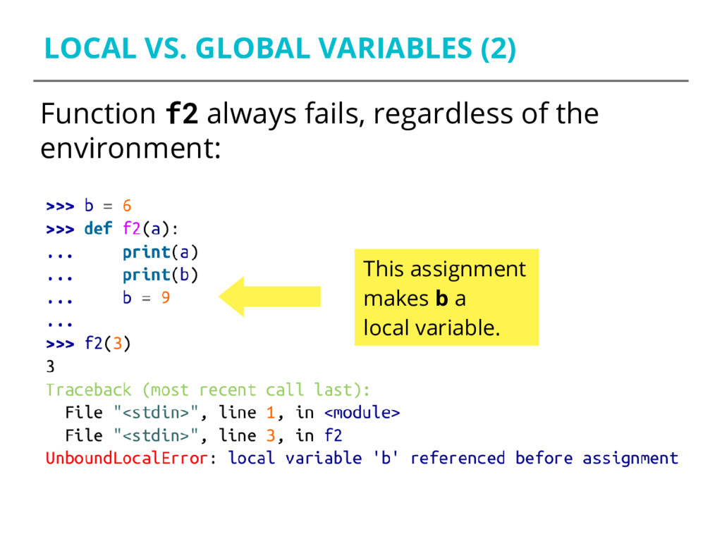 LOCAL VS. GLOBAL VARIABLES (2) Function f2 alwa...