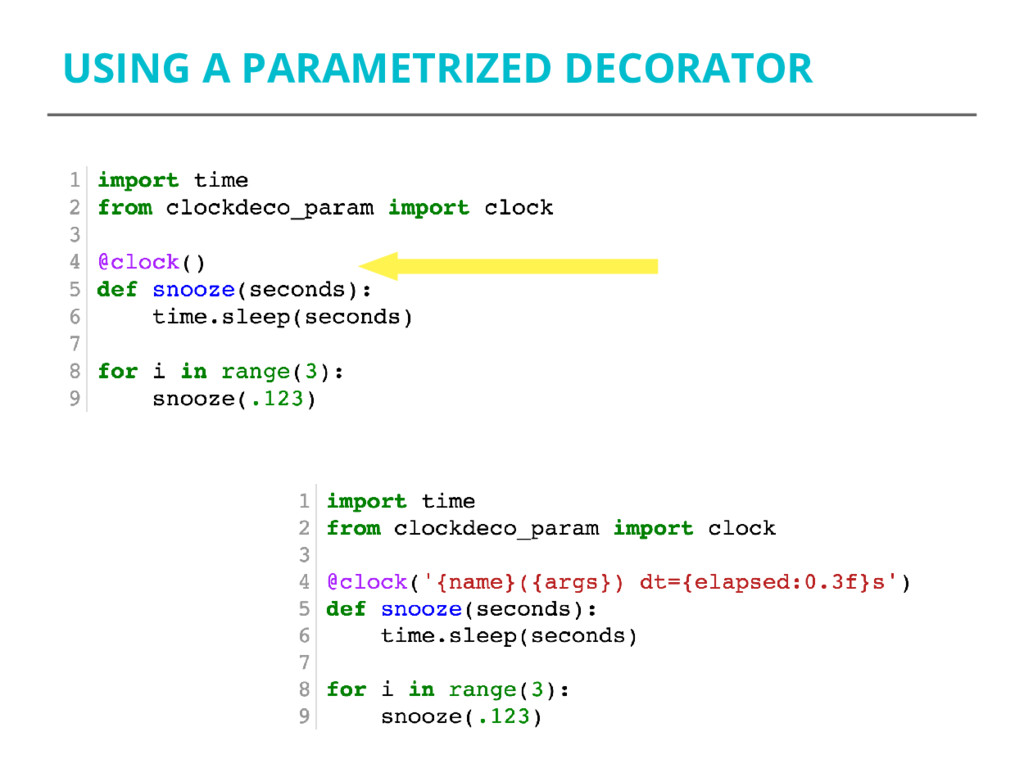 USING A PARAMETRIZED DECORATOR