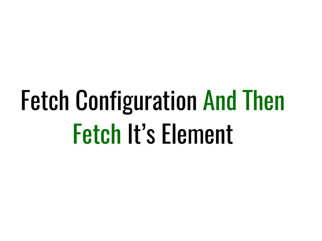 Fetch Configuration And Then Fetch It's Element