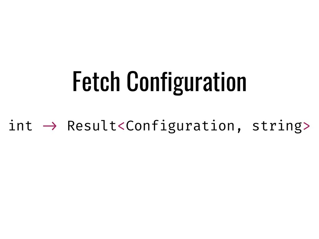 Fetch Configuration int !-> Result<Configuratio...