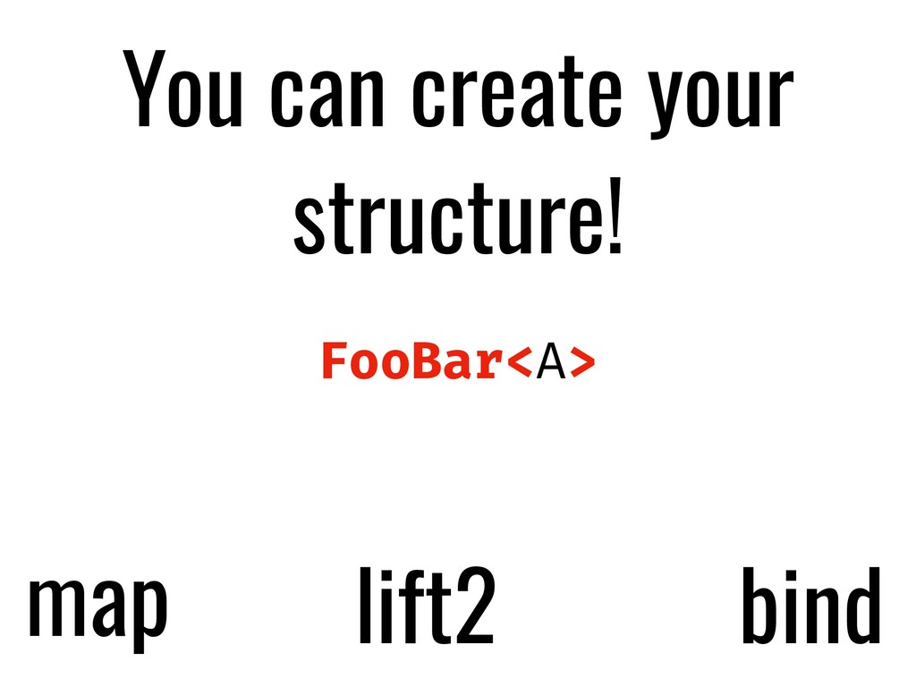 You can create your structure! FooBar<A> map li...