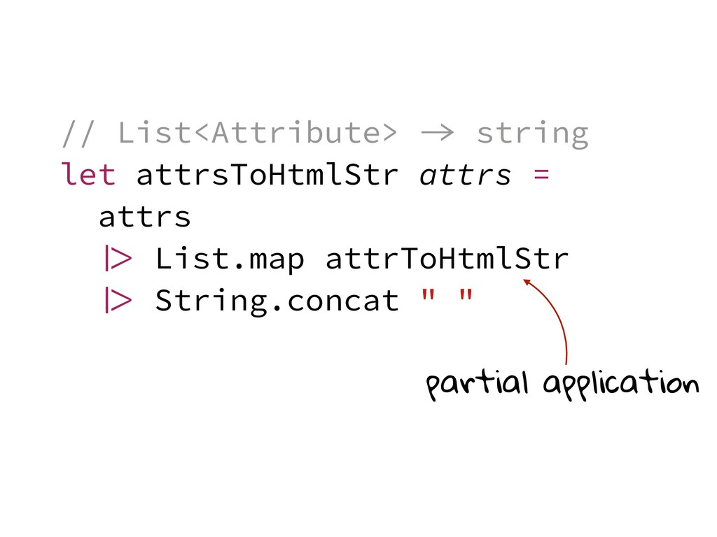 // List<Attribute>  string let attrsToHtmlStr ...
