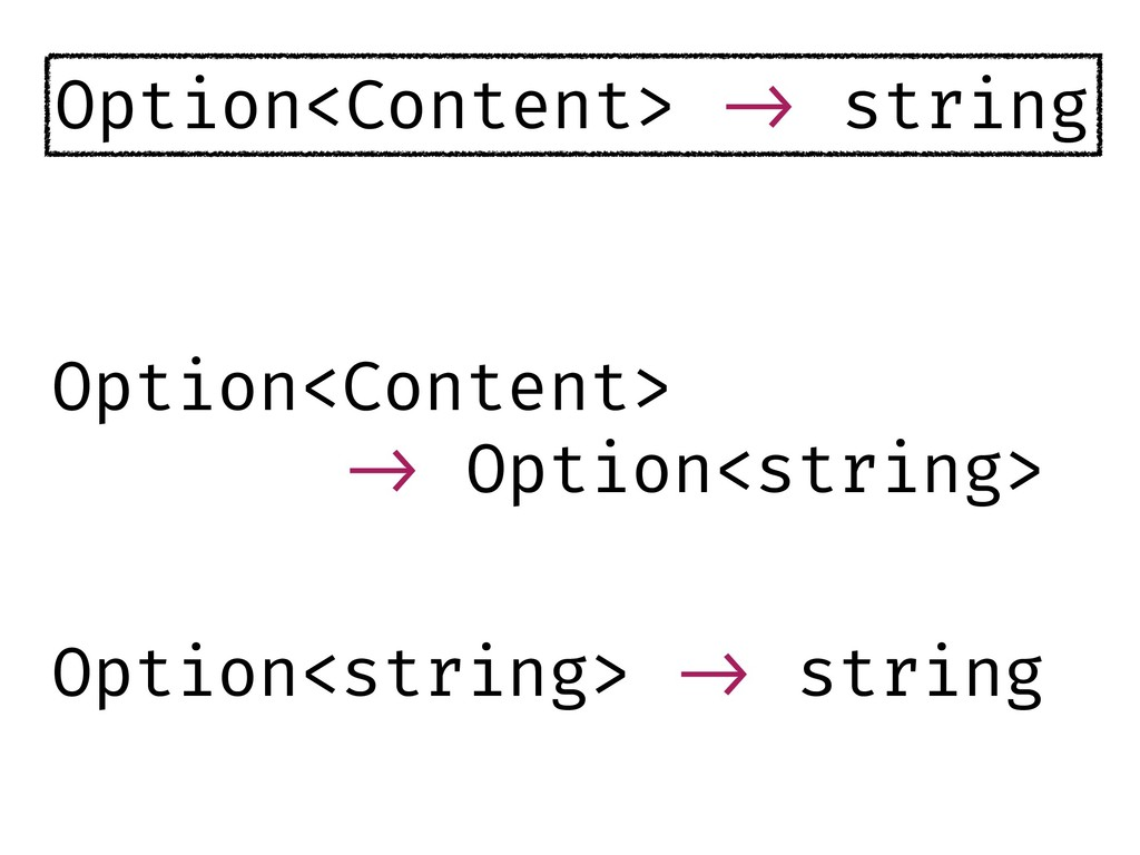 Option<Content> !-> string Option<Content> !-> ...